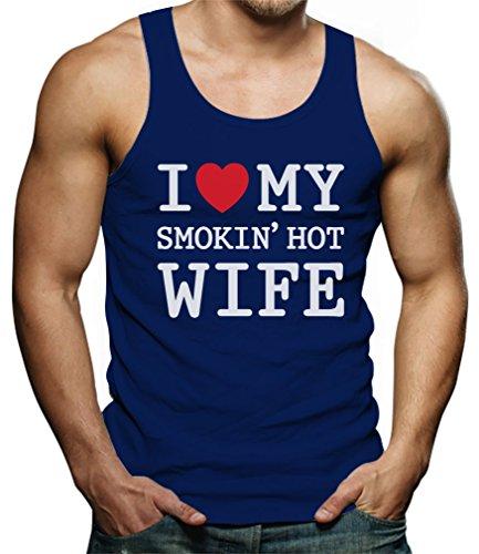 TeeStars - I Love My Smokin' Hot Wife - Valentine's Day Romantic Gift Singlet X-Large Blue by Tstars