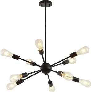 Sputnik Chandeliers 10 Lights Modern Pendant Lighting Vintage Ceiling Light Fixture, Black