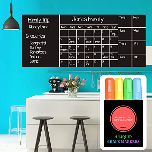 Wall Calendar Chalkboard Dry Erase Calendar (X Large 53x 22) Monthly, Weekly Organizer, Drawing Board, 4 Liquid Markers & Eraser, 2019 Planner for Family Activities, Chores, School, Work