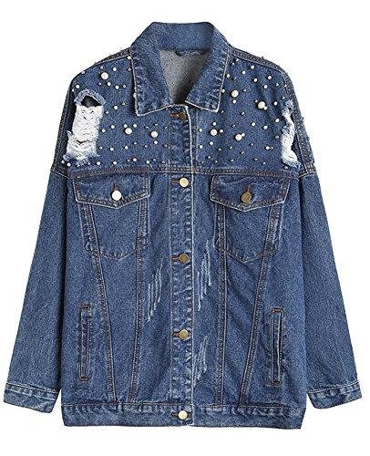 Kedera Women's Oversize Boyfriend Ripped Denim Jean Jacket with Pearls Beaded 2XL (X-Large) Blue