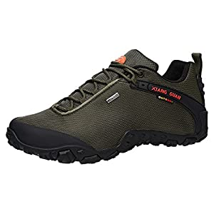 XIANG GUAN Men's Outdoor Low-Top Oxford Water Resistant Trekking Hiking Shoes Green 11