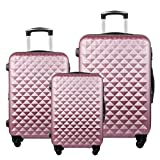 3 Piece Luggage Set Durable Lightweight Hard Case Spinner Suitecase LUG3 LY20 PINK
