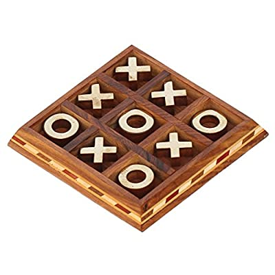 SouvNear SG-NGN-013 Handmade Noughts & Crosses (Tick Tack Toe) in Wood & Metal, 54.7 x 54.7 x 5.9 inches, Brown: Kitchen & Dining