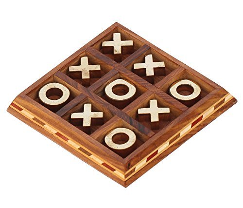 PRIME SALE FOR KIDS – Tic Tac Toe – SouvNear Rosewood Board Game 5.5 Inch ( Tick tack toe ) – Metal Noughts and Crosses Handmade Wooden Centrepiece Ga…
