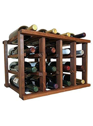 - Mini Stack Individual Wine Rack for 12 Wine Bottles - Fully Assembled - Dark Walnut Stain