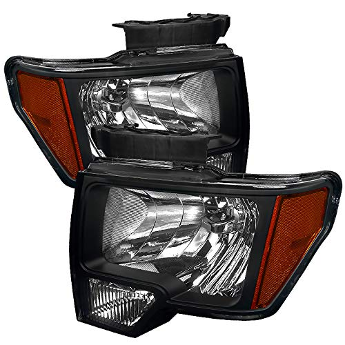 Carpartsinnovate For 09-14 Ford F150 F-150 Euro Pickup Black Headlights Corner Turn Signal Lamps Pair ()