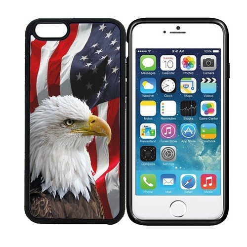 RCGrafix iPhone 6 PLUS 5.5 inch display Designer Black Cell Protective Case - Bald Eagle American Flag