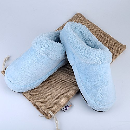 Dark Slip Slippers Men Non Azure Grey Azure Warm UName Pink Indoor Slippers Shoes Winter Blue Home Velvet Women Couple Soft Coral T4vqpwBA