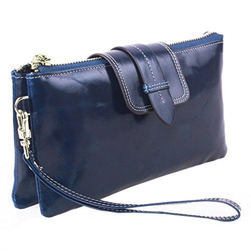 with KorMei Purse Metal Blue Leather Clutch Wristlet Shoulder Smartphone Chain Women Genuine Wallet rnXqr8S