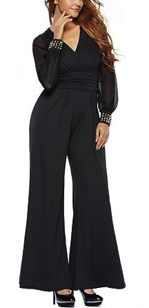 YIFAN DREAM Damen Elegant Jumpsuit Chiffon Langarm mit Niet V-Ausschnitt  Bluse Overall Abendmode Stilvoll 97a6565a67