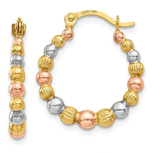 Tri-Color Beaded Round Hoop Earrings in 14k Yellow Gold and -