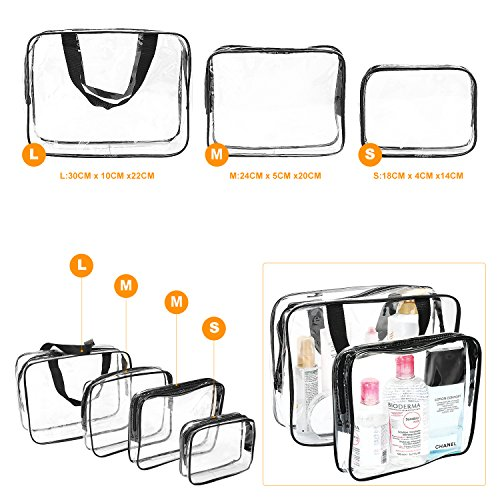Clear Makeup Bags, Travel Bag/ Travel Toiletry Bag Kit 4 Pack Travel Toiletry Cosmetic Bag Portable Waterproof PVC Organizer Case for Men & Women(4 pack, 3 size) by ANJOSE (Image #2)