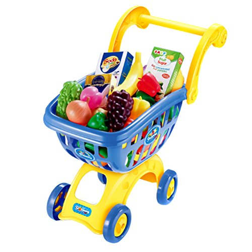 Felt Playhouse (Arsmt Toy Grocery Play House Mini Shopping Cart Trolley Supermarkets Basket Food Hand Cart Play Learn Storage Toy)