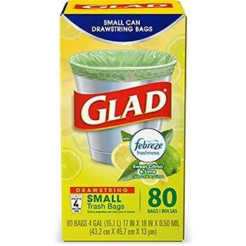Glad OdorShield Small Drawstring Trash Bags - Febreze Sweet Citron & Lime - 4 Gallon - 80 Count