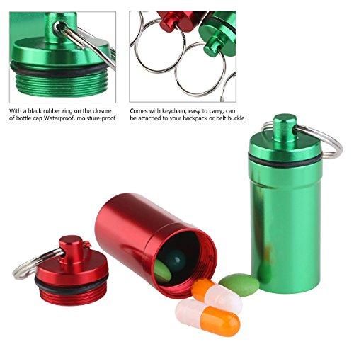 WINOMO 6 piezas Pastillero Píldoras Llavero Caja Botella Contenedor De Aluminio Impermeable 5