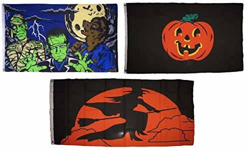 ALBATROS 3 ft x 5 ft Happy Halloween 3 Pack Flag Set #41 Combo Banner Grommets for Home and Parades, Official Party, All Weather Indoors -
