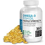 omega triple - Bronson Omega 3 Fish Oil Triple Strength 2720 mg, Non-GMO, Gluten Free, Soy Free, Heavy Metal Tested, 1250 EPA 488 DHA, 360 Softgels