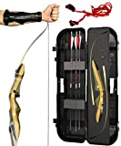 Spyder Takedown Recurve Bow - Ready 2 Shoot Archery Set   INCLUDES Bow, Instructions, Premium Carbon Arrows, Recurve Bow Case, Stringer Tool, Armguard, FREE GIFT   60 lb RH -Red