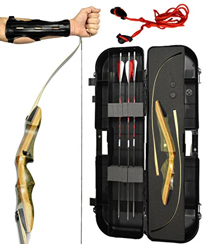 Spyder Takedown Recurve Bow - Ready 2 Shoot Archery Set | INCLUDES Bow, Instructions, Premium Carbon Arrows, Recurve Bow Case, Stringer Tool, Armguard, FREE GIFT | 50 lb LH -Red