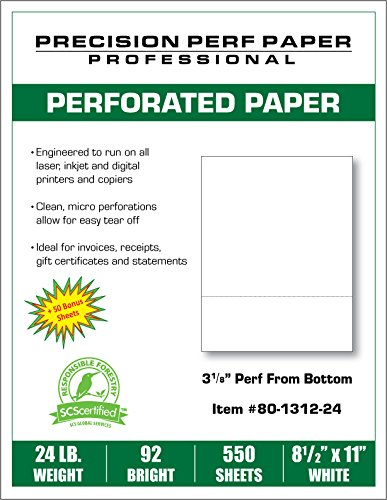 precision perforated paper for invoices statements receipts and more 1 horizontal perf 3