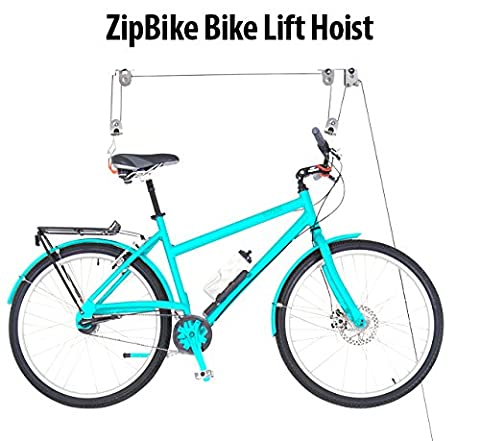 ZipBike Bike Lift Hoist- Premium Ceiling Mounted Mountain Bicycle Hoist For Garage Storage- Top Sturdy, Safe Design 100LB Capacity For Ceiling Bike Storage- Save Space & Effort In Storing Your (Bike Vertical Floor Stand)