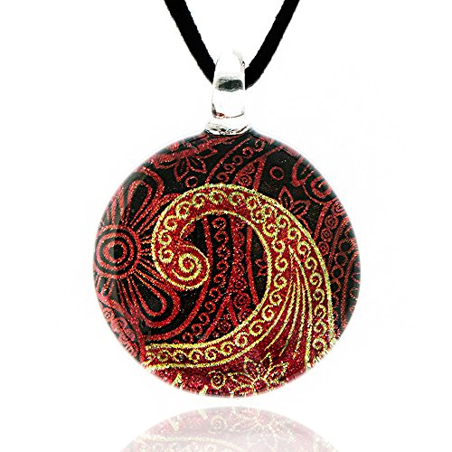 Hand Blown Venetian Murano Glass Abstract Golden Red Paisley Pattern Flower Necklace, 17-19 inches