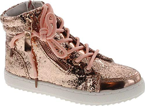 Link Ultra-69K Girl's Glitter Lace Up White Sole Ankle High Top Street Sneakers,Rose Gold,9]()