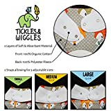 Tickles & Wiggles Organic Cotton Bandana Baby Bibs for Teething, Drool, Food - Shower Registry Gifts for Boys & Girls, BPA Free Silicone Teether, Adjustable Snaps, Pacifier Tether