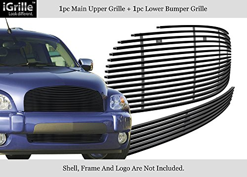 (APS Compatible with 2006-2011 Chevy HHR Stainless Steel Black Billet Grille Combo C87868J )