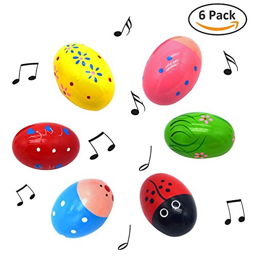 Egg Shakers-Set of 6 Wooden Percussion Musical Easter Maracas Egg Shakers Musical Instrument for Child Kids and Toddlers ' Toy (Deliver 6 Different Colors)