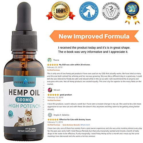 Hemp Oil for Dogs and Cats, BONUS E-BOOK, 100% Organic Pet Hemp Oil, Full Spectrum Hemp Extract 500MG - Anxiety Relief for Dogs & Cats, Support Hip & Joint Health, Third-Party Tested, Extracted in USA