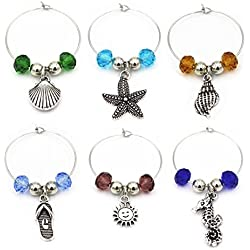 6Piece Beach Themed Wine Glass Charm Jewelry Wine Charms For Party Favor Wine Lover