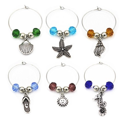 (6Piece Beach Themed Wine Glass Charm Jewelry Wine Charms For Party Favor Wine Lover)