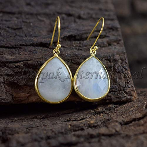 Natural Rainbow Moonstone Earring, Vermeil 925 Sterling Silver Yellow Gold Plating Jewelry, Moonstone Drop Earring, Latest Design Earring, Handmade Earring, June Birthstone Earring, Party Wear Jewelry