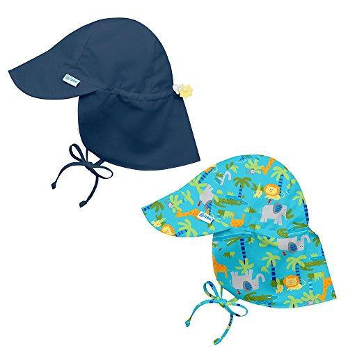 i play. 2PK UPF 50+ Sun Protection Flap Sun Hats-0-6 Mths-Navy Aqua Jungle