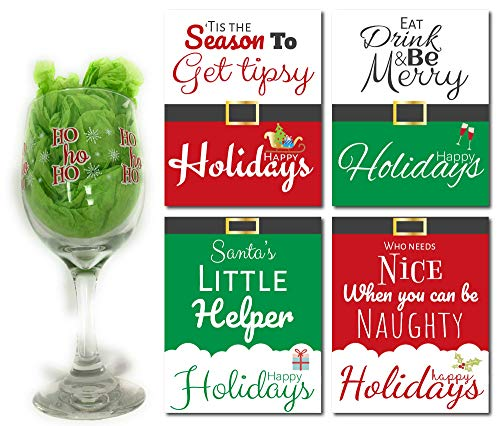 Holiday Wine Glass and Bottle Labels set, Ho Ho ho Christmas Goblet and 4 Wine Bottle Labels Stickers, Christmas Gift Ideas, Wine Lovers Holiday Presents