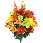 Admired-By-Nature-Faux-Lily-Zinnia-Football-Mum-Mixed-Flower-Bush