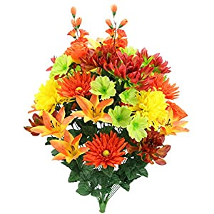 Admired By Nature Faux Lily Zinnia Football Mum Mixed Flower Bush 14
