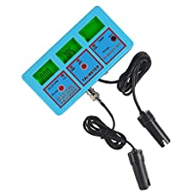 LTC® pH-118 6-in-1 pH ORP EC CF TDS Temp(PPM) Multiparameter Water Quality Test Monitor Calibration Tool for Laboratory Hydroponics Pool Aquarium Water Treatment,