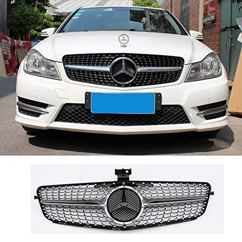 Diamond radiator style front bumper mesh grille for Mercedes Benz C class W204 2007-2014 C200 C300 C350 Silver