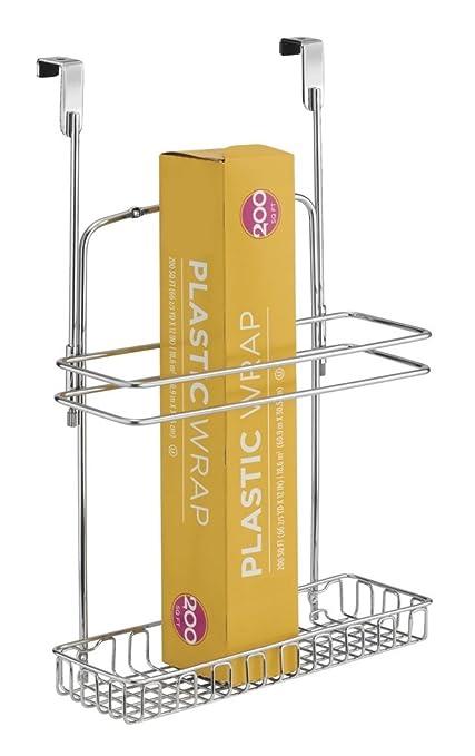 mDesign - Organizador para colocar sobre perfil de gabinete de cocina; guarda papel de aluminio, bolsas para sándwiches, suministros de limpieza - ...