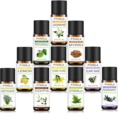 (PYRRLA Essential Oils,10 Highest Quality Essential Oil Set (Jasmine/Ylang ylang/Eucalyptus/Rosemary/Lemon/Patchouli/Vetiver/Clary Sage/Myrrh/Citronella))