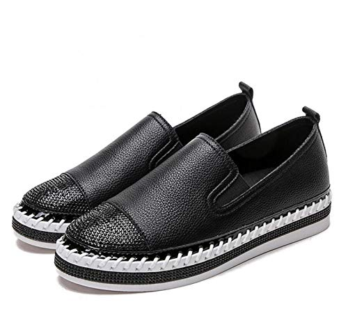 European Patchwork Espadrilles Shoes Woman Genuine Leather Creepers Flats Ladies Loafers White Leather Moccasins,Black,9
