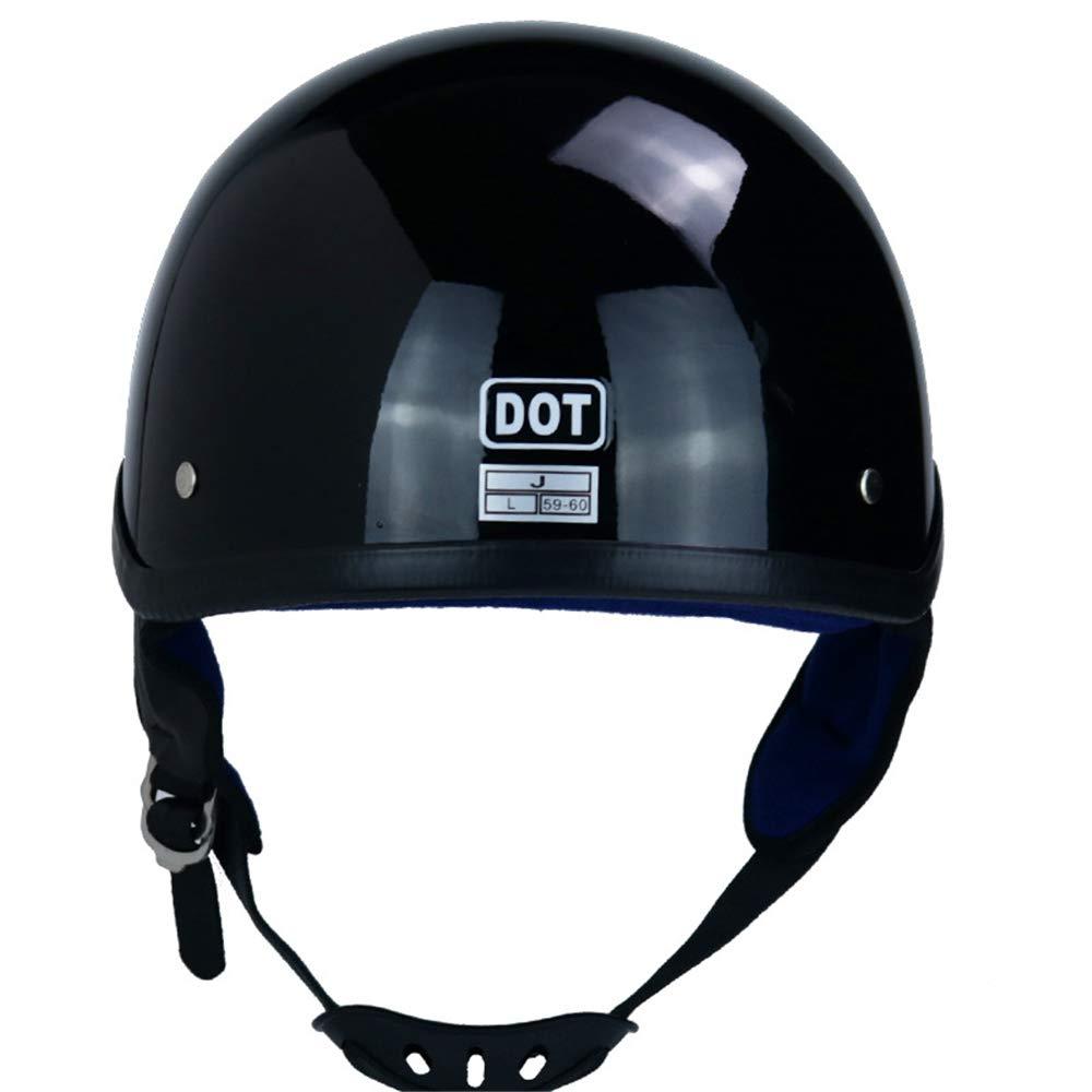 XL Jet-Helm Helm Klapphelm Schwarz Helm Motorrad Roller mit Doppelvisier DOT-Zertifizierung genehmigt QSWSW Herren Vintage Motorradhelm , Dunkler Engel 60~61cm