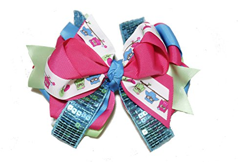 Chicky Chicky Bling Bling Large Sequin Boutique Hair Bow bright owl print ()