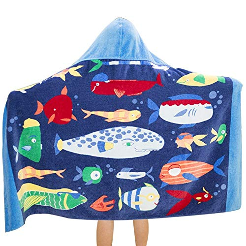 Hazure Hooded Towel for Kids, 100% Premium Cotton, Use for Children Bath Beach and Pool, Extra Large Size 31X51 inches, Ultra Breathable and Soft for All Seasons, Cute Cartoon Theme (Bottom Fish)