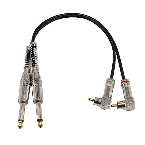 Soulitem Dual 6.35mm Mono Jack Macho a Doble balanceado RCA Audio Altavoz Mezclador Masculino Cable