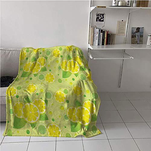 "Suchashome Vintage Fabric The Yard Boys Blanket,Lemon Lime Pattern in Retro Vintage Style Citrus Fruit Circles Natural Image,Digital Printing Blanket,Warm All Season Blanket for 70"" x 84"""