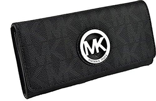 52bb2d83a6cc Michael Kors Black PVC MK Signature Fulton Flap CONTINENTAL ...