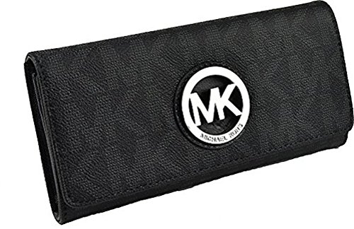 f814407e4f5d22 Michael Kors Black PVC MK Signature Fulton Flap CONTINENTAL ...